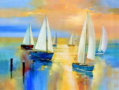 Wilfred Lang He was born in 1954 in Shanghai and began his artistic career at the incredible age of only seven years. From 1972 . Sailboat Painting, Boat Art, Art Images, Landscape Paintings, Canvas Wall Art, Watercolor Paintings, Modern Art, Art Projects, Sailing