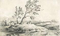 Good 1839 Graphite Drawing - Landscape