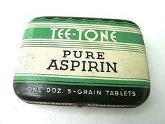 Items similar to Vintage Aspirin Advertising Tin -Tee Tone Tablets on Etsy