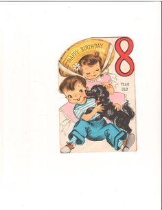 Vintage Dog Licking Little Boys Face Birthday Greeting Card   eBay