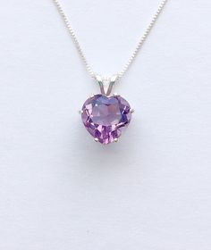 Genuine heart shaped amethyst was handset in sterling silver. Sterling silver box chain is 18 inches long. Ruby Heart Necklace, Purple Necklace, Purple Jewelry, Amethyst Jewelry, Amethyst Necklace, Amethyst Pendant, Heart Jewelry, February Birthstone Necklace, Amethyst Birthstone