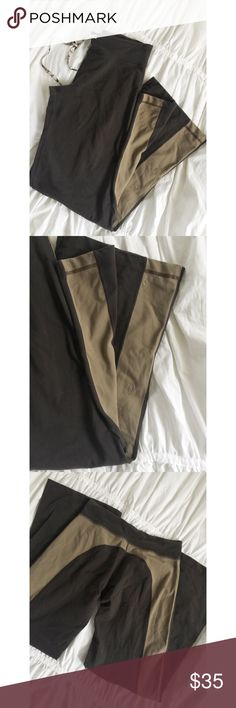 LuLuLemon Yoga Pants LuLuLemon Yoga Pants.  Brown and tan in color.  Logo embossed on the leg.  Great condition. Women's size 4 tall. lululemon athletica Pants Boot Cut & Flare
