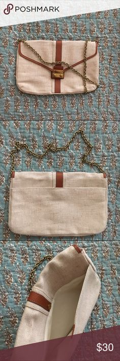 J. Crew Factory Envelope Purse Small leather and linen envelope style bag from J. Crew Factory. The linen has light and dark threads in it, and the lining is an ivory fabric. Never used. 👜 J. Crew Bags Mini Bags