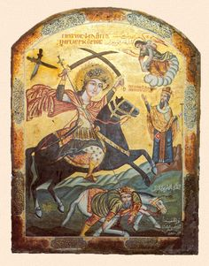 """Coptic icon portraying a vision of Saint Basil, with Saint Mercurius killing the Pagan Roman Emperor Julian. Great-martyr Mercurius (224–250) was a Christian saint & martyr. Born Philopater in the city of Eskentos in Cappadocia, Eastern Asia Minor, his original name means """"lover of the Father"""". Saint Mercurius is also known by the name Abu-Seifein, which in Arabic means, """"the holder [literally, owns/possess] of two swords"""", referring to a second sword given to him by Archangel Michael."""