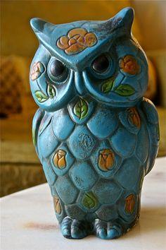 Blue Floral Vintage Owl Piggybank. $15.00, via Etsy.