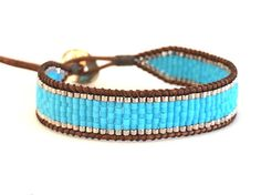 Wrap Bracelet Beaded Bracelet Leather Ladder Bracelet Single