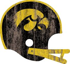 Iowa Hawkeyes Sign - Large Wood Helmet