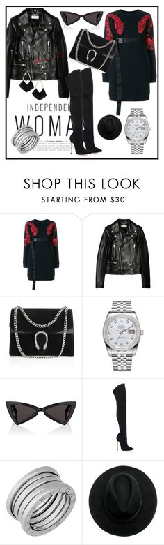 """""""Black & Red"""" by elenzark ❤ liked on Polyvore featuring County Of Milan, Yves Saint Laurent, Gucci, Rolex, Casadei, Bulgari and Ettika"""