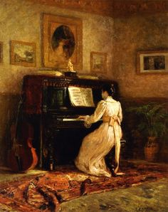 colourthysoul:  Theodore Clement Steele - Girl at the piano / The Piano (1893)