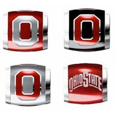 """Teagan Collegiate Collection Bead: Ohio State University Combo set. This bundle contains four Ohio State University Beads:     OSU1 Red O on Gray Bead     OSU2 Gray O on Red Bead     OSU3 Red O on Black Bead     OSU4 Ohio State Arch Bead  Beads are 925 Silver and Enamel. These are """"Teagan"""" beads and they are compatible with Pandora, Biagi, Zable, Brighton, Troll and many other European style bracelets."""