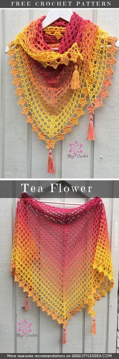 Tea Flower Free Crochet Pattern #crochetshawl #freecrochetpatternsforshawl #crochetpattern #shawl