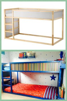 ikea kura bed turned into bunk bed painted blue with paperchase paper panels