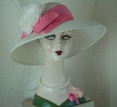 Couture Hat, White Straw Hat, Wide-Brimmed Hat