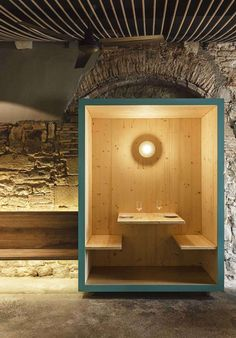"""STOPOVER """"La Bona Sort"""" tapa's restaurant is sited in an old manor house… Furniture Projects, Diy Furniture, Office Pods, Deco Restaurant, Booth Seating, Wooden Stairs, Workspace Design, Restaurant Interior Design, Cafe Design"""