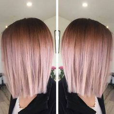 Cut + color! ❤❤❤Blunt, Straight Lob Hair Style - Balayage, Ombre Hairstyles for Fine Hair