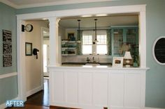 Featured on Better After :) Wall color: dining room- BM Wedgewood Grey, kitchen- BM Ballet White; Side-mounted Station Clock - Pottery Barn; wall art: http://www.redletterwords.com/index.cfm?cat_id=1