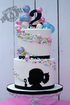 Amazing bubble cake by High Five Cakes w/personalized silhouette of the birthday girl Bubble Cake, Bubble Party, Bubble Birthday, Cake Birthday, Birthday Kids, Fondant Birthday Cakes, Amazing Birthday Cakes, Happy Birthday, Gorgeous Cakes