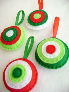 these would be great ornaments for the kids to practice their hand stitching on