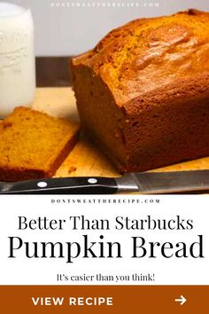 This copycat Pumpkin Bread Recipe is better than Starbucks! Moist, tender, and loaded with pumpkin fall flavors. #pumpkin #copycat Best Pumpkin Bread Recipe, Starbucks Pumpkin Bread, Healthy Pumpkin Bread, Healthy Bread Recipes, Best Banana Bread, Pumpkin Recipes, Cake Recipes, Apple Recipes, Pumpkin Pound Cake