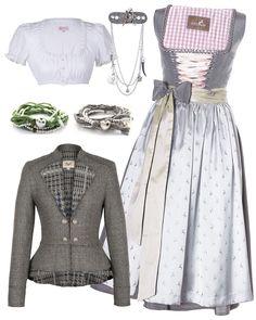 Silber-graues Trachten Outfit mit dem Seidendirndl von Kitzalm