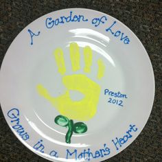 The kids would love eating off a plate with their hand on it & Motheru0027s day plate! Dollar store plate ceramic paint you bake in ...