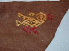 Front:Section(Textile) Textile fragment; cotton plain weave ground cloth with camelid fibre supplementary weft patterning; row of bird motifs, bodies alternating in colour; brown cotton with yellow, tan, red and green wool. Peruvian Textiles, Green Wool, Pj, South America, Bodies, Weave, Reusable Tote Bags, Bird, Stitch