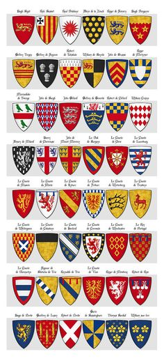 Walford's Roll of Arms, Panel Shields 91 - 138 - Category:Walford's Roll - Wikimedia Commons Asian History, British History, Knights Templar History, Medieval Shields, Templer, Strange History, History Facts, Shield Design, Tudor History