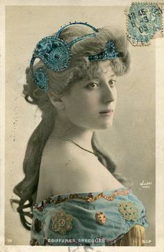 Original French vintage hand tinted real photo postcard - Sergyl with beautiful headpiece