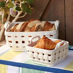 Ceramic bread basket...want this for Easter dinner!