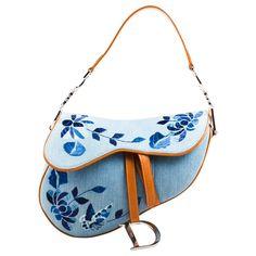 Christian Dior Light Blue Tan Denim Leather Embroidered Shoulder 'Saddle' Bag…