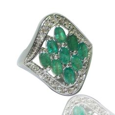 Solid 925 Sterling Silver With Emerald & Dia Handmade Ring Size 7
