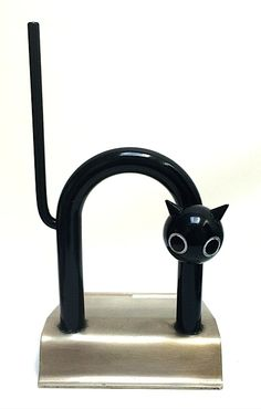 """Cat"" Door Stop, Brushed Nickel  Black  Walter von Nessen for Chase  USA 1930  H 8.75""   W 4.5""   D 5"""