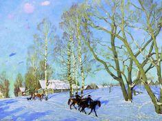 Le Soleil Mars, huile sur toile de Konstantin Yuon (1875-1958, Russia)