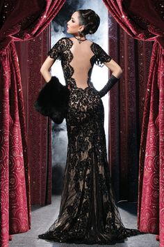 2018 Hot Evening Dresses Deep V-neck Short Sleeves Black Lace Backless Sheath Sweep Train Sexy Sheer Applique Party Gown_Prom Dresses Dresses_Special Occasion Dresses_Buy High Quality Dresses from Dress Factory Black Wedding Dresses, Elegant Dresses, Pretty Dresses, Wedding Black, Beautiful Gowns, Beautiful Outfits, Gorgeous Dress, Dead Gorgeous, Evening Dresses