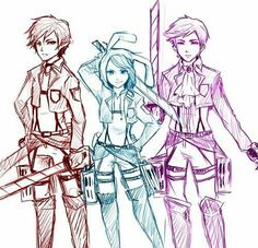 Love this. Marshall Lee, Fiona, and Prince Gumball attack on titan crossover