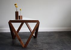 Tre side table, coffee table, end table, walnut with perforated steel top by petrifieddesign on Etsy https://www.etsy.com/listing/171589579/tre-side-table-coffee-table-end-table