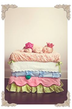 Princess and the Pea newborn photoshoot. Ok, the little crochet crown...I'm dying!