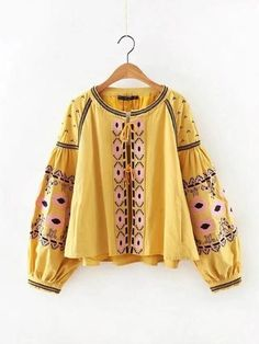 Womens Cheerful Ethnic Full Embroidered Blouse