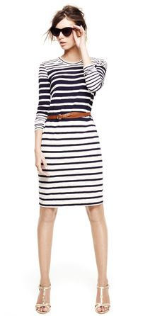 Striped long sleeve dress for early summer