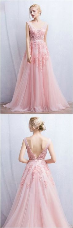 Pink Romantic A-Line V-neck Floor-Length Tulle Wedding Dress With Appliques Lace