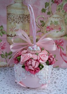Shabby Pink Christmas Ornament Venise Lace Pink Cabbage Roses Pearls Chic | eBay