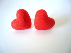 Stud Earrings RED HEART Fabric Covered Button Ear by AllFullOfLove, $7.90