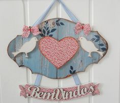 welcome door hanger Fabric Painting, Painting Frames, Painting On Wood, Wood Crafts, Diy And Crafts, Decoupage, Country Crafts, Sell On Etsy, Creative Gifts