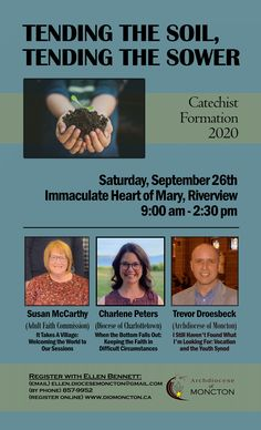 Tending the Soil, Tending the Sower 2020 ~ Our annual day of catechist formation will take place on Saturday, September 26th from 9:00 am - 2:30 pm. Although intended for catechists, anyone interested is welcome to register. Catechist, September, Register Online, Events, Activities, Day, Happenings