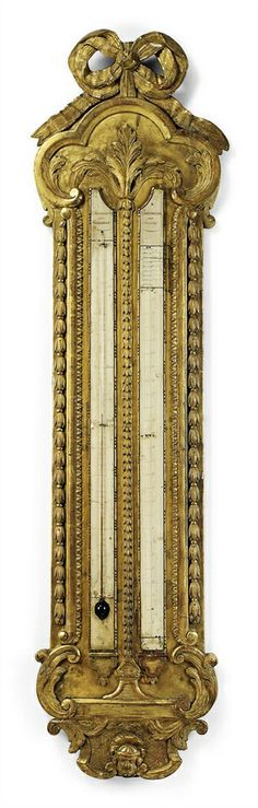 *A LOUIS XV CARVED GILTWOOD STICK BAROMETER AND THERMOMETER MID 18TH CENTURY
