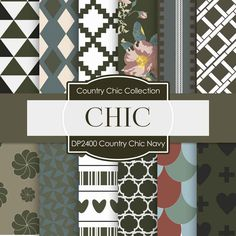 Country Chick Navy Digital Paper DP2400