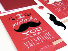 Mustache Valentine. $4.00, via Etsy. Includes a perforated mustache and stick, so that the recipient can instantly enjoy their new stache.