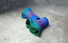 Felted Mittens Nuno Felted cuffs felt bracelet  felt by AnnaWegg