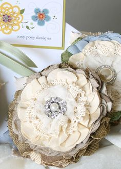 vintage burlap linen lace | Burlap and linen, vintage lace with rhinestone and pearl brooches for ...