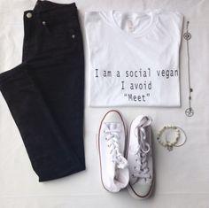 I am a social vegan i avoid meet ? tshirt tumblr shirt tumblr saying vegan shirt #dress #buyable